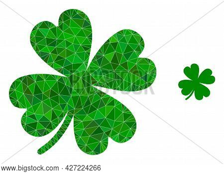 Triangle Lucky Clover Leaf Polygonal Symbol Illustration. Lucky Clover Leaf Lowpoly Icon Is Filled W