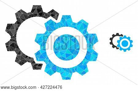Triangle Gears Polygonal Symbol Illustration. Gears Lowpoly Icon Is Filled With Triangles. Flat Fill