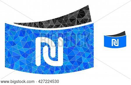 Triangle Shekel Banknote Polygonal Icon Illustration. Shekel Banknote Lowpoly Icon Is Filled With Tr