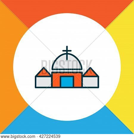Church Icon Colored Line Symbol. Premium Quality Isolated Chapel Element In Trendy Style.