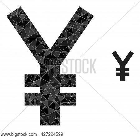 Triangle Yen Symbol Polygonal Icon Illustration. Yen Symbol Lowpoly Icon Is Filled With Triangles. F