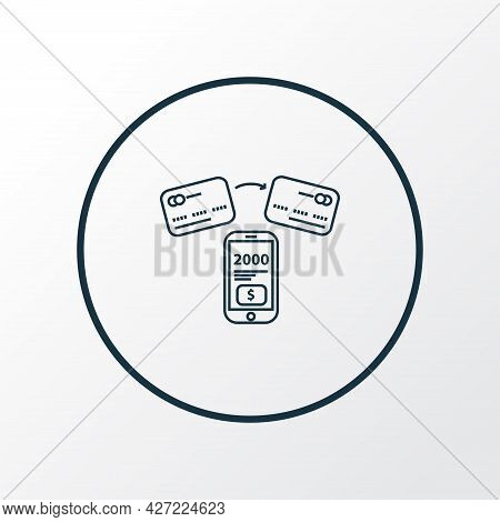 Fund Transfer Icon Line Symbol. Premium Quality Isolated Mobile Banking Element In Trendy Style.