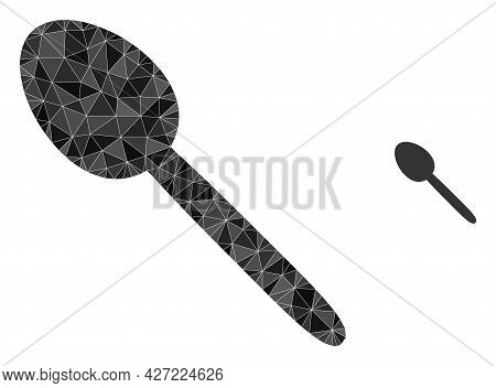 Triangle Spoon Polygonal Symbol Illustration. Spoon Lowpoly Icon Is Filled With Triangles. Flat Fill