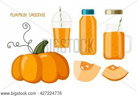 Pumpkin Juice Or Smoothie. Autumn Seasonal Products. Pumpkin, Glass, Bottle And Smoothie Mug With Or