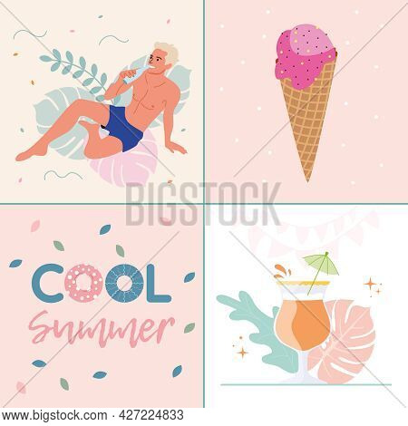 Vector Collage For Summer Vacation On The Beach. A Man On Vacation With Ice Cream And A Cocktail.