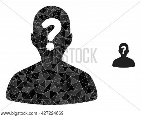 Triangle Unknown Body Polygonal Icon Illustration. Unknown Body Lowpoly Icon Is Filled With Triangle