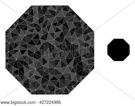 Triangle Octagon Polygonal Symbol Illustration. Octagon Lowpoly Icon Is Filled With Triangles. Flat