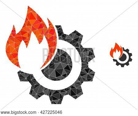 Triangle Hot Gear Polygonal Icon Illustration. Hot Gear Lowpoly Icon Is Filled With Triangles. Flat