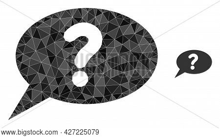 Triangle Unknown Message Polygonal Icon Illustration. Unknown Message Lowpoly Icon Is Filled With Tr