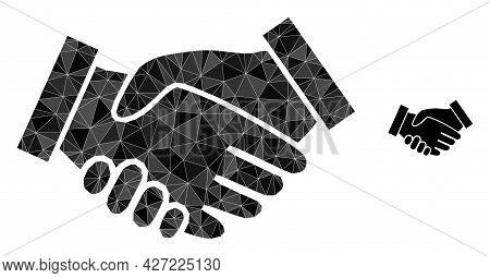 Triangle Handshake Polygonal Icon Illustration. Handshake Lowpoly Icon Is Filled With Triangles. Fla