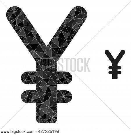 Triangle Yen Currency Polygonal Symbol Illustration. Yen Currency Lowpoly Icon Is Filled With Triang