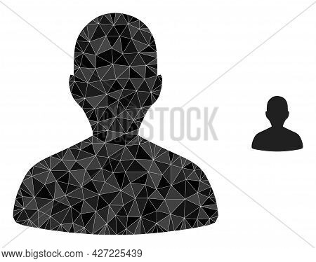 Triangle Person Profile Polygonal Icon Illustration. Person Profile Lowpoly Icon Is Filled With Tria