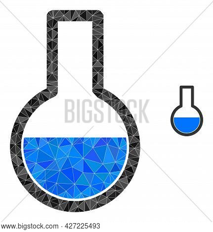 Triangle Flask Polygonal Icon Illustration. Flask Lowpoly Icon Is Filled With Triangles. Flat Filled