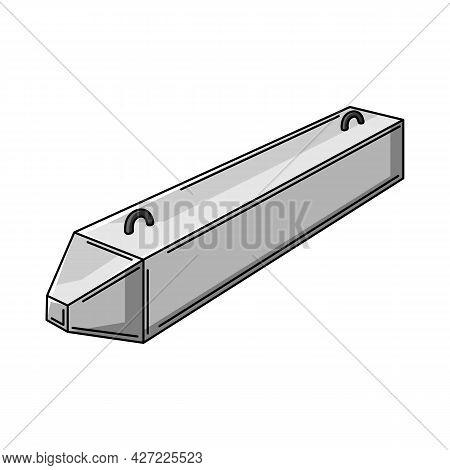 Illustration Of Concrete Pile. Housing Construction Item. Industrial Building Symbol.
