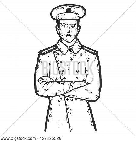 Captain Sailor. Sketch Scratch Board Imitation Coloring.