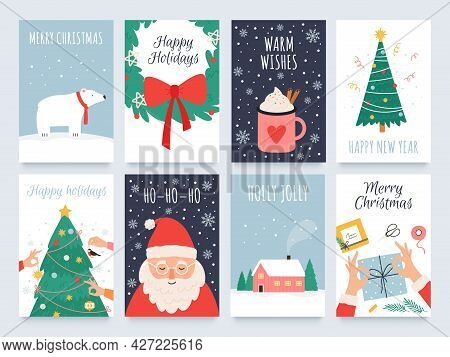 Scandinavian Christmas Cards. Cozy Winter Holiday, Noel And New Year Celebrations With Cute Santa, P