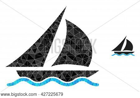 Triangle Sailing Polygonal Symbol Illustration. Sailing Lowpoly Icon Is Filled With Triangles. Flat