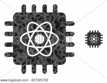 Triangle Quantum Computing Polygonal Symbol Illustration. Quantum Computing Lowpoly Icon Is Filled W