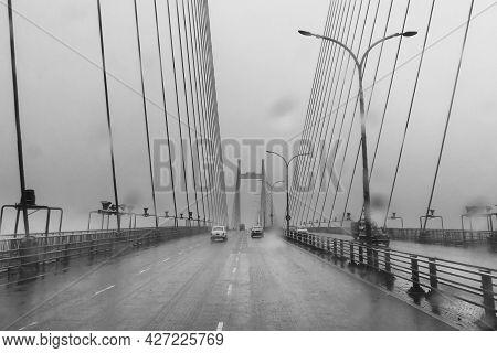 Vidyasagar Setu Over River Ganges, Known As 2nd Hooghly Bridge In Kolkata,west Bengal, India. Abstra
