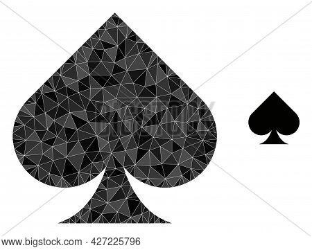 Triangle Playing Card Spade Suit Polygonal Symbol Illustration. Playing Card Spade Suit Lowpoly Icon