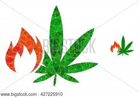 Triangle Hot Cannabis Polygonal Icon Illustration. Hot Cannabis Lowpoly Icon Is Filled With Triangle