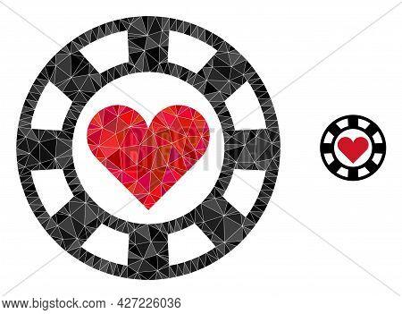 Triangle Hearts Casino Chip Polygonal Icon Illustration. Hearts Casino Chip Lowpoly Icon Is Filled W