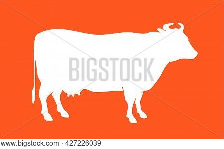 Cow Silhouette. Isolated Cow Silhouette. Vintage Retro Print Cow Silhouette For Meat Business, Meat