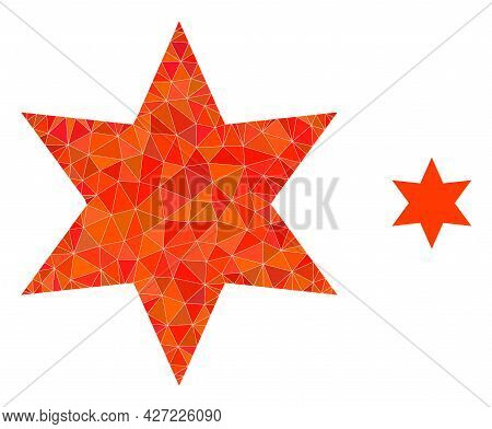 Triangle Six Pointed Star Polygonal Icon Illustration. Six Pointed Star Lowpoly Icon Is Filled With