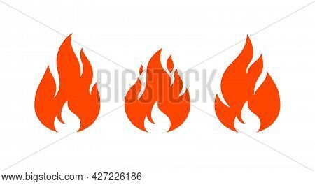 Fire, Flame. Red Flame In Abstract Style On White Background. Flat Fire Collection Set. Modern Art I