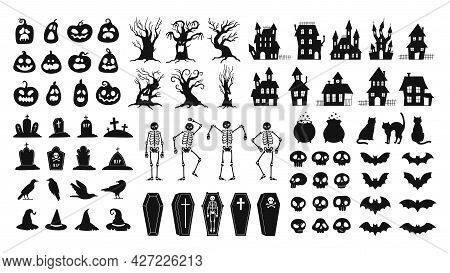 Horror Silhouettes. Scary Halloween Decor Skulls And Skeletons, Witch Hats, Black Cats, Crows And Gr