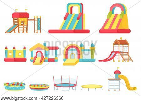 Cartoon Trampolines. Children Play Room Elements, Inflatable Castles And Slides, Game House And Soft