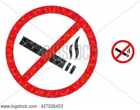 Triangle Smoking Forbidden Polygonal Icon Illustration. Smoking Forbidden Lowpoly Icon Is Filled Wit