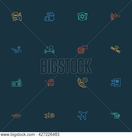 Transportation Icons Line Style Set With Flight Date, Passport Control, Business Class And Other Org