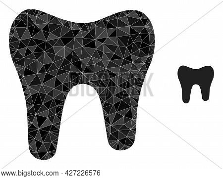 Triangle Tooth Polygonal Icon Illustration. Tooth Lowpoly Icon Is Filled With Triangles. Flat Filled
