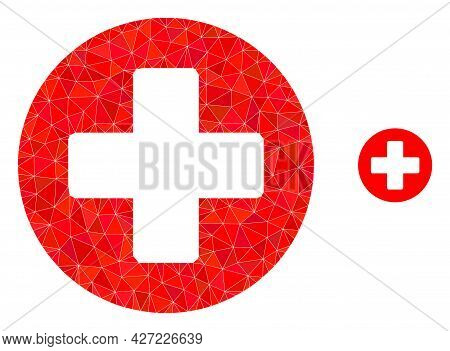 Triangle Medicine Polygonal Symbol Illustration. Medicine Lowpoly Icon Is Filled With Triangles. Fla