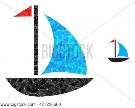 Triangle Sail Boat Polygonal Icon Illustration. Sail Boat Lowpoly Icon Is Filled With Triangles. Fla