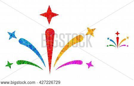Triangle Salute Fireworks Polygonal Icon Illustration. Salute Fireworks Lowpoly Icon Is Filled With