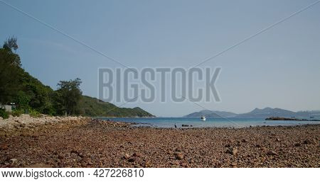 Rock stone beach on island