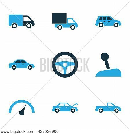 Auto Icons Colored Set With Car, Chronometer, Carriage And Other Sedan Elements. Isolated Illustrati