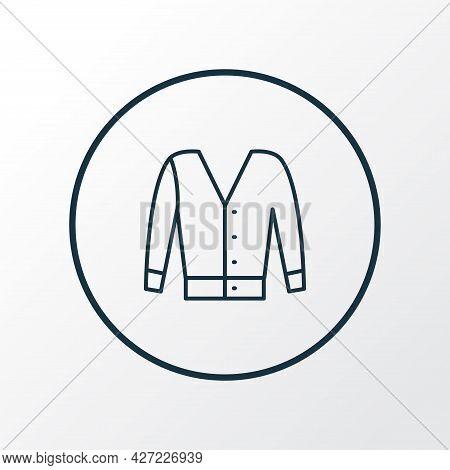Short Cardigan Icon Line Symbol. Premium Quality Isolated Jacket Element In Trendy Style.