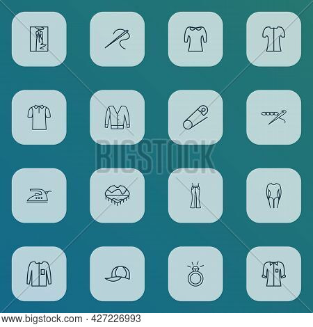 Fashionable Icons Line Style Set With Iron, Fashion Sketch, Flared Jeans And Other Engagement Elemen