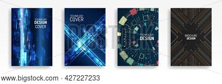 Technology Modern Brochure Templates. Set Of Science And Innovation Hi-tech Background. Flyer Design