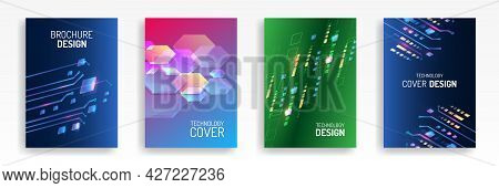 Contemporary Science And Digital Technology Concept. Vector Template For Brochure Or Cover With Hi-t