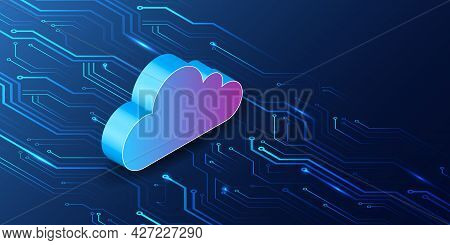 Abstract Datacenter, Network System. Web Hosting Vector Banner. Isometric Cloud Technology, Media Se