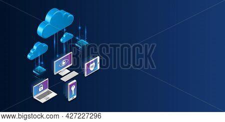 Web Hosting Vector Banner. Isometric Cloud Computing, Media Server. 3d Futuristic Hosting Server. Ab