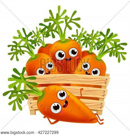Funny Cartoon Carrots Set In A Wooden Box. Fresh Healthiest Vegetables. Cute Characters Food On Whit