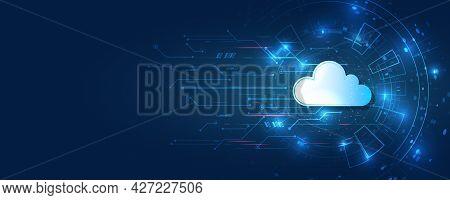 Abstract Datacenter, Network System. Web Hosting Vector Banner. Cloud Computing, Media Server. Futur