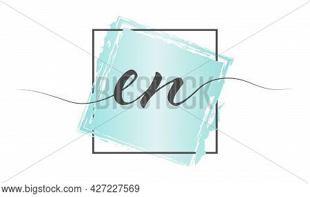 Calligraphic Lowercase Letters En In A Single Line On A Colored Background In A Frame. Vector Illust