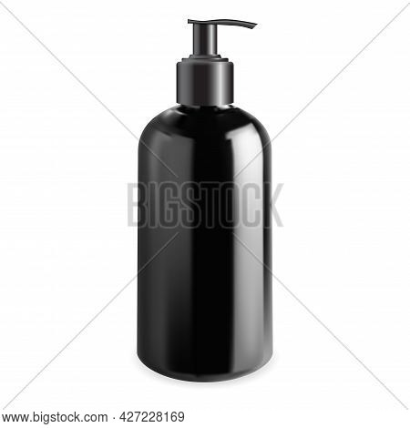 Men Cosmetic Pump Bottle Mock Up. Cleanser Gel Dispenser Container, Vector Template. Liquid Soap Pla
