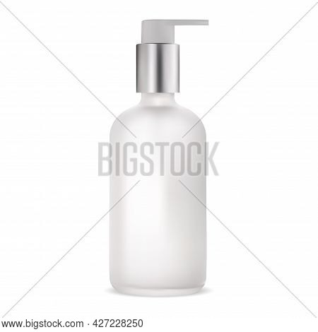 Cosmetic Lotion Package. Pump Container, Serum Gel Template. Liquid Soap Glass Tube With Metal Dispe
